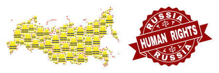 Human rights collage of yellow vest map of Russia and seal stamp template. Map of Russia collage created for Gilet Jaunes protest illustrations.