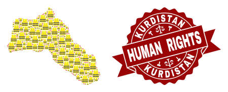 Human rights combination of yellow vest map of Kurdistan and seal stamp template. Map of Kurdistan collage created for Gilet Jaunes protest illustrations. Çizim