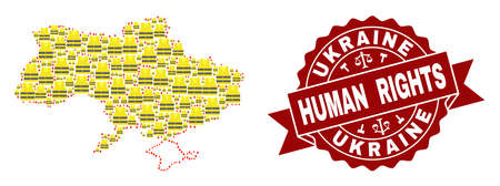 Human rights composition of yellow vest map of Ukraine and seal template. Map of Ukraine collage designed for Gilet Jaunes protest illustrations. Stock Photo