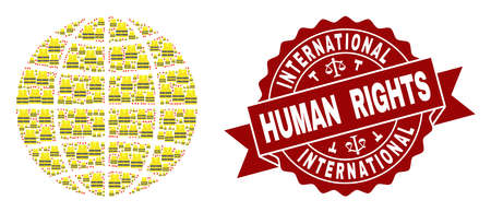 Human rights collage of yellow vest map of global world and seal template. Map of global world collage formed for Gilet Jaunes protest illustrations. 免版税图像
