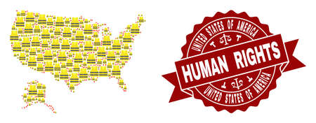 Human rights collage of yellow vest map of USA and Alaska and seal stamp template. Map of USA and Alaska collage formed for Gilet Jaunes protest illustrations. Stock Photo