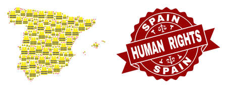 Human rights collage of yellow vest map of Spain and stamp template. Map of Spain collage formed for Gilet Jaunes protest illustrations.