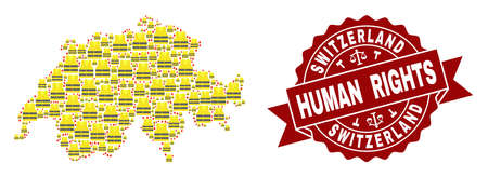 Human rights collage of yellow vest map of Switzerland and seal template. Map of Switzerland collage composed for Gilet Jaunes protest illustrations. Stock Photo