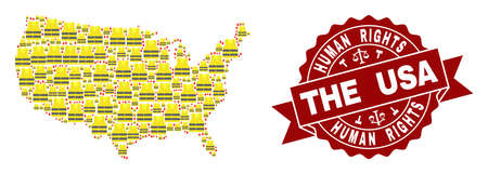 Human rights collage of yellow vest map of USA and seal stamp template. Map of USA collage composed for Gilet Jaunes protest illustrations.