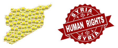 Human rights collage of yellow vest map of Syria and stamp template. Map of Syria collage designed for Gilet Jaunes protest illustrations.