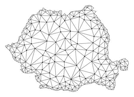 Polygonal mesh map of Romania in black color. Abstract mesh lines, triangles and points with map of Romania. Wire frame 2D polygonal line network in vector format.
