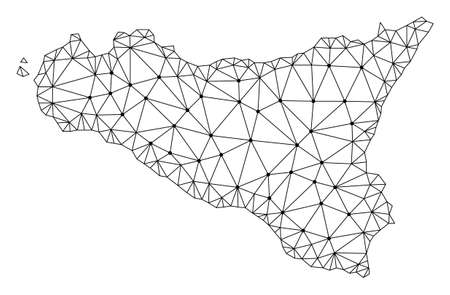 Polygonal mesh map of Sicilia Island in black color. Abstract mesh lines, triangles and points with map of Sicilia Island. Wire frame 2D polygonal line network in vector format.
