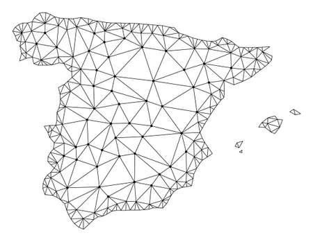 Carte de maille polygonale de l'Espagne en couleur noire. Lignes de maillage abstrait, triangles et points avec carte de l'Espagne. Réseau de lignes polygonales 2D filaire au format vectoriel. Modèle de carcasse à des fins politiques. Vecteurs