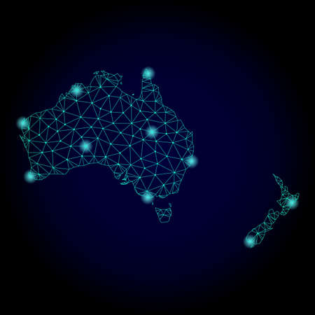 Glossy polygonal mesh map of Australia and New Zealand. Abstract mesh lines, triangles, light spots and points on dark background with map of Australia and New Zealand.