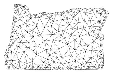 Polygonal mesh map of Oregon State in black color. Abstract mesh lines, triangles and points with map of Oregon State. Wire frame 2D polygonal line network in vector format.