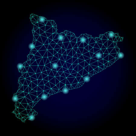 Glossy polygonal mesh map of Catalonia. Abstract mesh lines, triangles, light spots and points on dark background with map of Catalonia.