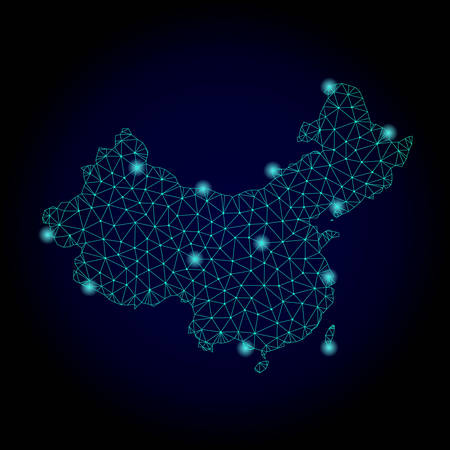 Glossy polygonal mesh map of China. Abstract mesh lines, triangles, light spots and points on dark background with map of China.