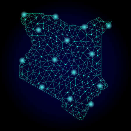 Glossy polygonal mesh map of Kenya. Abstract mesh lines, triangles, light spots and points on dark background with map of Kenya.