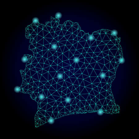 Glossy polygonal mesh map of Ivory Coast. Abstract mesh lines, triangles, light spots and points on dark background with map of Ivory Coast.