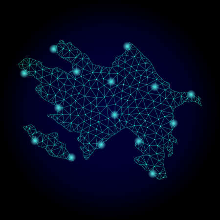 Glossy polygonal mesh map of Azerbaijan. Abstract mesh lines, triangles, light spots and points on dark background with map of Azerbaijan. Illustration