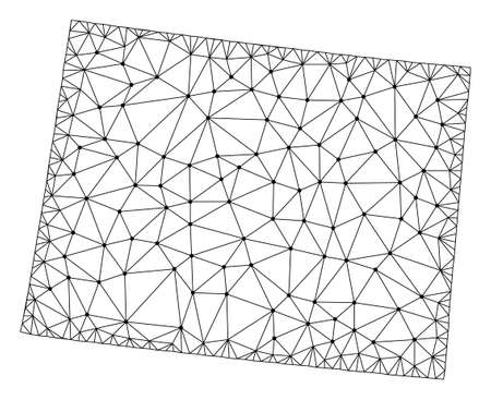 Polygonal mesh map of Wyoming State in black color. Abstract mesh lines, triangles and points with map of Wyoming State. Wire frame 2D polygonal line network in vector format.