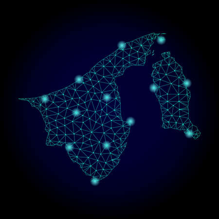 Glossy polygonal mesh map of Brunei. Abstract mesh lines, triangles, light spots and points on dark background with map of Brunei.