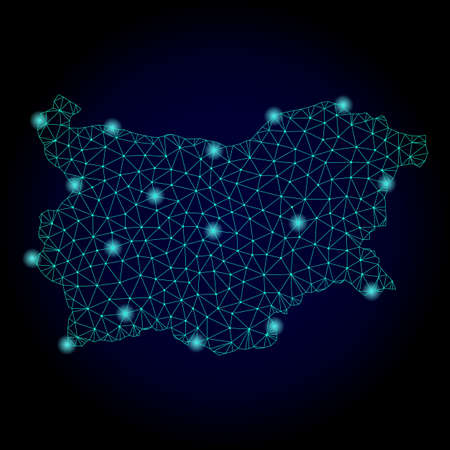 Glossy polygonal mesh map of Bulgaria. Abstract mesh lines, triangles, light spots and points on dark background with map of Bulgaria.