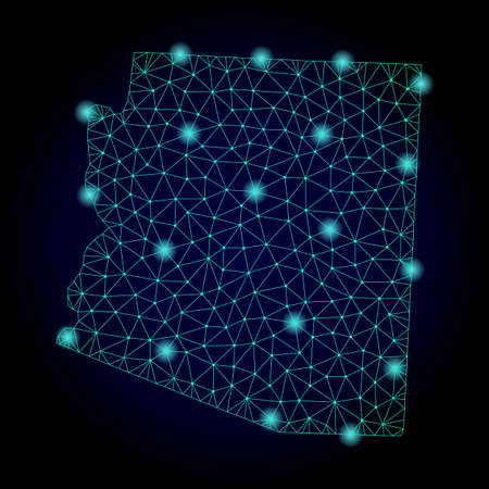 Glossy polygonal mesh map of Arizona State. Abstract mesh lines, triangles, light spots and points on dark background with map of Arizona State.
