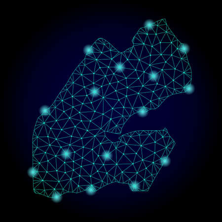Glossy polygonal mesh map of Djibouti. Abstract mesh lines, triangles, light spots and points on dark background with map of Djibouti.