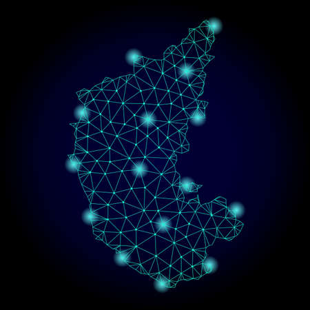 Glossy polygonal mesh map of Karnataka State. Abstract mesh lines, triangles, light spots and points on dark background with map of Karnataka State.
