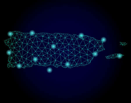 Glossy polygonal mesh map of Puerto Rico. Abstract mesh lines, triangles, light spots and points on dark background with map of Puerto Rico.