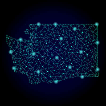 Glossy polygonal mesh map of Washington State. Abstract mesh lines, triangles, light spots and points on dark background with map of Washington State. Vectores