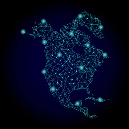 Glossy polygonal mesh map of North America. Abstract mesh lines, triangles, light spots and points on dark background with map of North America.