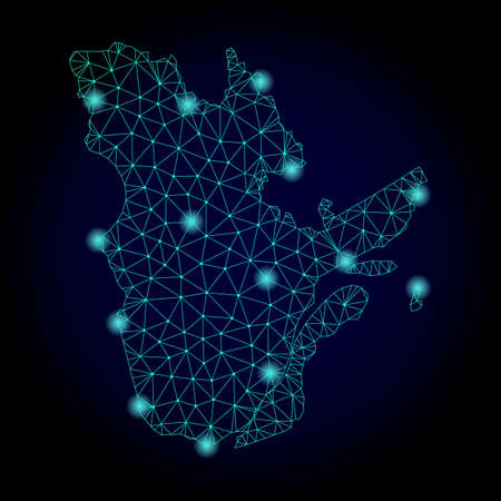 Glossy polygonal mesh map of Quebec Province. Abstract mesh lines, triangles, light spots and points on dark background with map of Quebec Province. Illustration