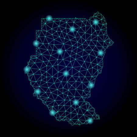 Glossy polygonal mesh map of Sudan. Abstract mesh lines, triangles, light spots and points on dark background with map of Sudan.