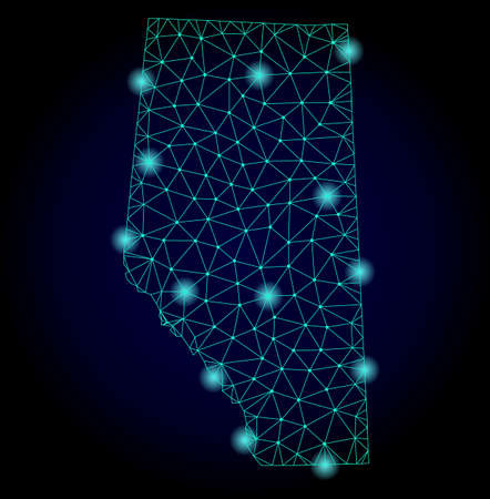 Glossy polygonal mesh map of Alberta Province. Abstract mesh lines, triangles, light spots and points on dark background with map of Alberta Province.