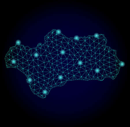 Glossy polygonal mesh map of Andalusia Province. Abstract mesh lines, triangles, light spots and points on dark background with map of Andalusia Province.