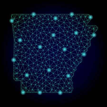 Glossy polygonal mesh map of Arkansas State. Abstract mesh lines, triangles, light spots and points on dark background with map of Arkansas State. Stock Photo