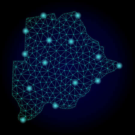 Glossy polygonal mesh map of Botswana. Abstract mesh lines, triangles, light spots and points on dark background with map of Botswana.