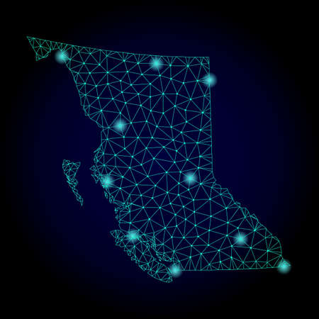 Glossy polygonal mesh map of British Columbia Province. Abstract mesh lines, triangles, light spots and points on dark background with map of British Columbia Province. 스톡 콘텐츠