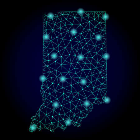 Glossy polygonal mesh map of Indiana State. Abstract mesh lines, triangles, light spots and points on dark background with map of Indiana State. Stock Photo