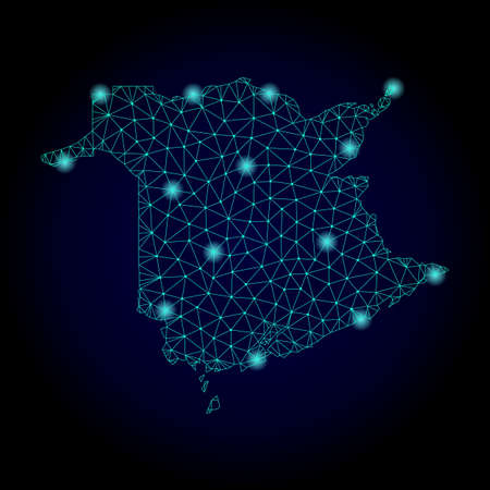 Glossy polygonal mesh map of New Brunswick Province. Abstract mesh lines, triangles, light spots and points on dark background with map of New Brunswick Province.