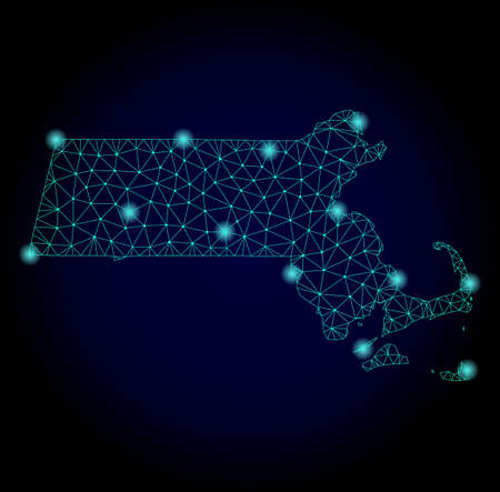 Glossy polygonal mesh map of Massachusetts State. Abstract mesh lines, triangles, light spots and points on dark background with map of Massachusetts State. Stock Photo