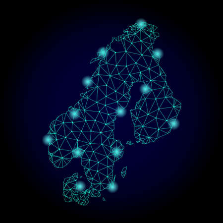 Glossy polygonal mesh map of Scandinavia. Abstract mesh lines, triangles, light spots and points on dark background with map of Scandinavia. Фото со стока