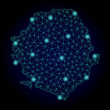Glossy polygonal mesh map of Sierra Leone. Abstract mesh lines, triangles, light spots and points on dark background with map of Sierra Leone. 免版税图像