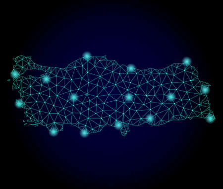 Glossy polygonal mesh map of Turkey. Abstract mesh lines, triangles, light spots and points on dark background with map of Turkey. 版權商用圖片 - 112830631