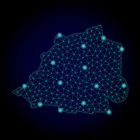 Glossy polygonal mesh map of Vatican. Abstract mesh lines, triangles, light spots and points on dark background with map of Vatican. Stock Photo