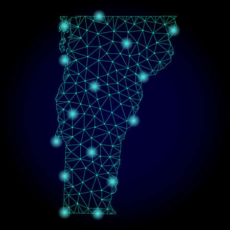 Glossy polygonal mesh map of Vermont State. Abstract mesh lines, triangles, light spots and points on dark background with map of Vermont State. Stock Photo