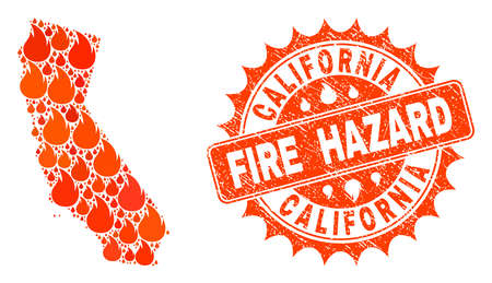 Fire hazard collage of map of California burning and scratched stamp. Map of California vector collage designed for fire insurance templates. Mosaic map of California designed with orange flame items.