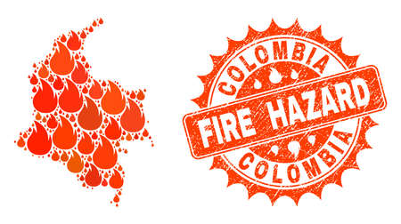 Fire hazard collage of map of Colombia burning and unclean stamp. Map of Colombia vector collage composed for fire insurance templates. Mosaic map of Colombia constructed with colorful flame items. Ilustrace