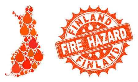 Fire hazard collage of map of Finland burning and scratched seal. Map of Finland vector collage designed for fire insurance illustrations. Mosaic map of Finland designed with orange flame items.