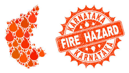 Fire hazard collage of map of Karnataka State burning and unclean stamp. Map of Karnataka State vector collage designed for fire insurance illustrations. Illustration