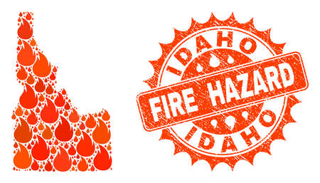 Fire hazard collage of map of Idaho State burning and rubber stamp seal. Map of Idaho State vector collage designed for fire insurance posters.