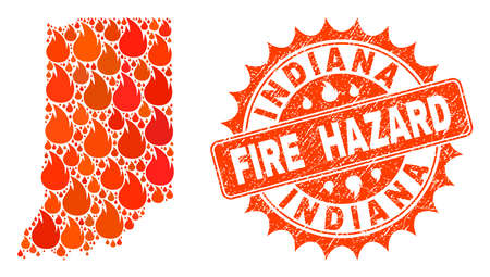 Fire hazard collage of map of Indiana State burning and rubber stamp. Map of Indiana State vector collage designed for fire insurance templates. Illustration