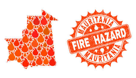 Fire hazard collage of map of Mauritania burning and dirty stamp. Map of Mauritania vector collage designed for fire insurance illustrations. Mosaic map of Mauritania designed with orange flame items. Illustration